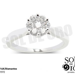 1572-Anillo solitario oro blanco 14k con diamantes